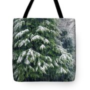 Red Cedar And Snow Tote Bag