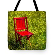 Red Chair Amoung Wildflowers Tote Bag