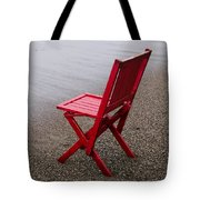 Red Chair On The Beach Tote Bag