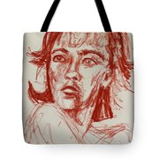 Red Charcoal Sketch 6481 Tote Bag