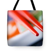 Red Chopsticks Tote Bag