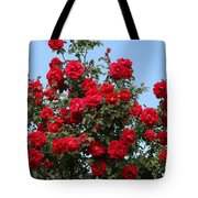 Red Climbing Roses Tote Bag