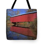 Red Covered Bridge And Reflection Tote Bag