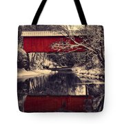 Red Covered Bridge In Winter Tote Bag