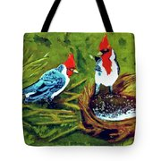Red-crested Cardinal Birds #77 Tote Bag