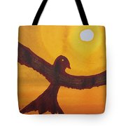 Red Crow Repulsing The Monkey Original Painting Tote Bag