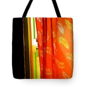 Red Curtain In The Doorway Tote Bag