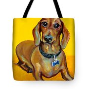 Red Dachshund - Tigger Smiles Tote Bag