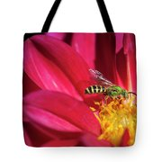 Red Dahlia With Wasp Tote Bag