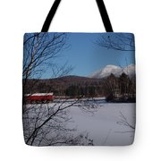 Red Dam And Percy Peaks In Winter Tote Bag