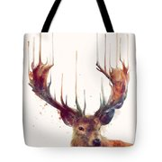Red Deer Tote Bag by Amy Hamilton
