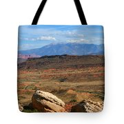 Red Desert With La Sal Mountains Tote Bag