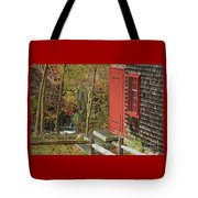 Red Door At The Grist Mill In Fall 2017  Tote Bag