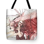 A Red Dress And A  Biplane Tote Bag