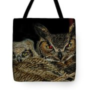 Red Eyed Mama And Baby Horned Owls Tote Bag