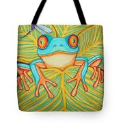 Red Eyed Tree Frog And Dragonfly Tote Bag