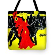 Red Faerie And Black Wolf With Yellow Moon Tote Bag
