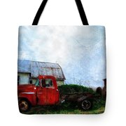 Red Farm Truck Tote Bag