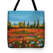 Red Field Tote Bag