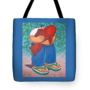 Red Fish And Blue Trousers. Tote Bag