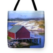 Red Fishing Shed On The Cove Tote Bag