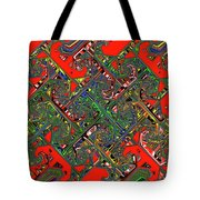 Red Five Wave Abstract Tote Bag