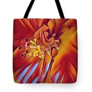 Red Flame Hibiscus Tote Bag