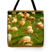 Red Florida Flamingos In Green Water Tote Bag