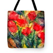 Red Floral Abstract Tote Bag