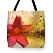 Red Floral Grunge Tote Bag