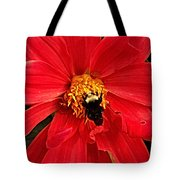 Red Flower And Bee Tote Bag