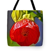 Red Flower At Pilgrim Place  In Claremont-california Tote Bag