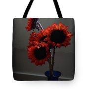 Red Flower Blue Vase Tote Bag