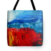 Red Flowers Blue Mountains - Abstract Landscape Tote Bag
