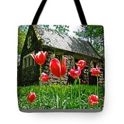 Red Flowers In Central Park Tote Bag