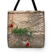 Red Flowers In Ruins Tote Bag