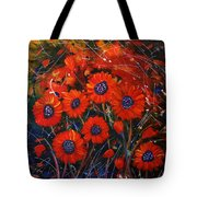 Red Flowers In The Night Tote Bag