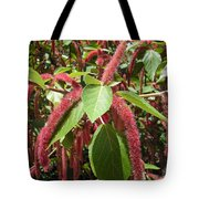 Red Fluffy Flower Tote Bag