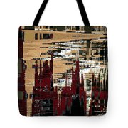 Red Forest Abstract Tote Bag