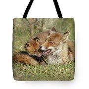 Red Fox Cub Love Tote Bag