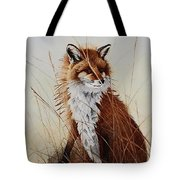 Red Fox Waiting On Breakfast Tote Bag