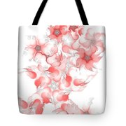 Red Fractal Floral Pattern Tote Bag