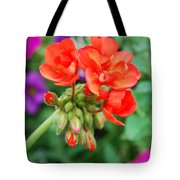 Red Fresh Geraniums Tote Bag
