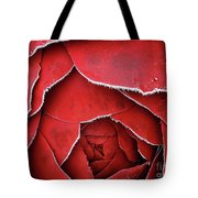 Red Frosty Metal Rose Tote Bag