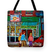 Red Geraniums And Bagels Tote Bag