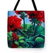 Red Geraniums Tote Bag