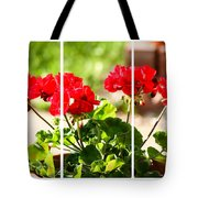 Red Geraniums Triptych Tote Bag