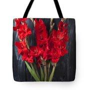 Red Gladiolus In Striped Vase Tote Bag