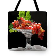 Red Grapes On Glass Dish Tote Bag