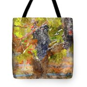 Red Grapes On The Vine During The Fall Season Tote Bag